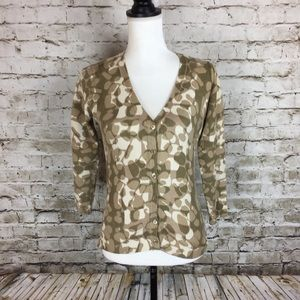 BCBGMaxAzria cream and tan print cardigan sweater
